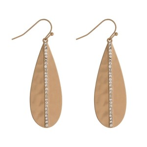 """Matte gold tone fishhook earrings with a hammered texture and clear rhinestone accents. Approximately 2"""" in length."""