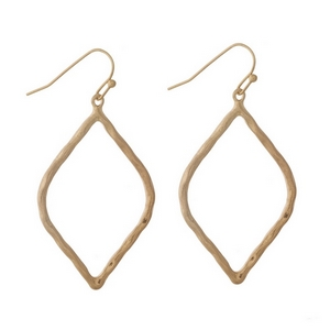 """Gold tone fishhook earrings with a hammered, open teardrop shape. Approximately 1.5"""" in length."""