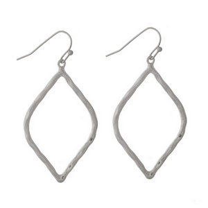 """Silver tone fishhook earrings with a hammered, open teardrop shape. Approximately 1.5"""" in length."""