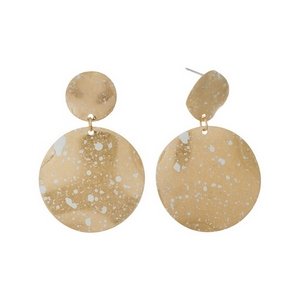 """Gold tone post earrings with two circles and white speckled paint. Approximately 1.75"""" in length."""