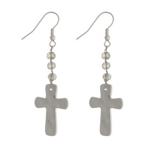 """Silver tone fishhook earrings with a hammered cross and gray bead accents. Approximately 2"""" in length."""