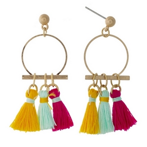 """Gold tone post earrings with an open circle and pink, yellow, and mint fabric tassels. Approximately 1.5"""" in length."""