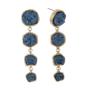 """Gold tone post style earrings with four navy blue faux druzy stones. Approximately 2.5"""" in length."""