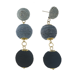 """Gray to black ombre thread wrapped bead earrings. Approximately 3"""" in length."""