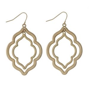 """Gold tone fishhook earrings with two moroccan shapes. Approximately 2"""" in length."""