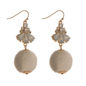 """Gold tone fishhook earrings with clear rhinestones and an ivory thread wrapped ball. Approximately 2.25"""" in length."""
