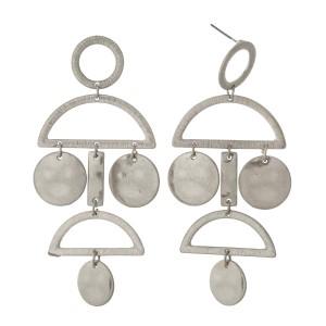"Silver tone chandelier, post style earrings. Approximately 3"" in length."