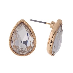 """Gold tone teardrop stud earrings with a clear rhinestone. Approximately 1/2"""" in length."""