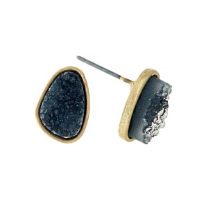 """Gold tone stud earrings with a black faux druzy stone. Approximately 1/3"""" in length."""