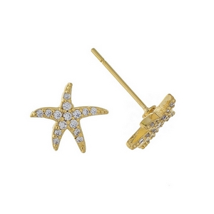 "Gold tone starfish stud earrings. Approximately 1/3"" in diameter."