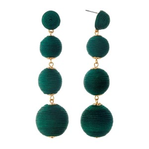 """Hunter green thread wrapped ball earrings with gold tone accents. Approximately 3.5"""" in length."""