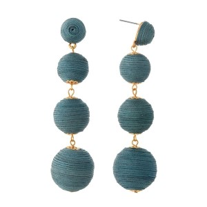 "Charcoal gray thread wrapped ball earrings with gold tone accents. Approximately 3.5"" in length."