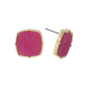 """Gold tone stud earrings with a fuchsia, square shaped faux druzy stone. Approximately 1/2"""" in diameter."""