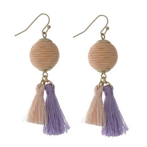 "Gold tone fishhook earrings with a peach thread wrapped ball and two thread tassels. Approximately 2"" in length."