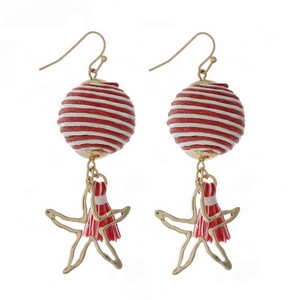 "Gold tone fishhook earrings with a red and ivory thread wrapped ball bead and a starfish charm. Approximately 2"" in length."