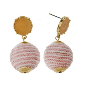 "Gold tone stud earrings with a peach faux druzy stone and a white striped thread wrapped bead. Approximately 1.5"" in length."