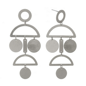 "Silver tone stud earrings with geometric shapes. Approximately 3"" in length."