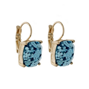 "Gold tone lever back earrings with a light blue glitter square shape. Approximately 3/4"" in length."