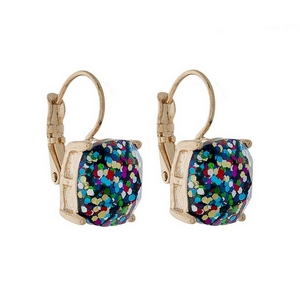 "Gold tone lever back earrings with a multicolored glitter square shape. Approximately 3/4"" in length."