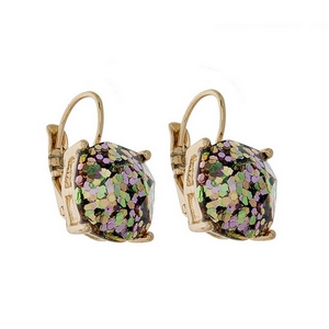 "Gold tone lever back earrings with an olive green glitter square shape. Approximately 3/4"" in length."