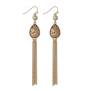 "Gold tone fishhook earrings with a topaz glitter teardrop and chain tassel. Approximately 4"" in length."
