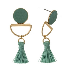 "Gold tone stud earrings with a mint green faux leather circle and a thread tassel. Approximately 2"" in length."