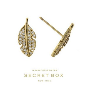 "Secret Box 14 karat gold dipped over brass feather stud earrings. Approximately 2/3"" in diameter. Sold in a gift box."
