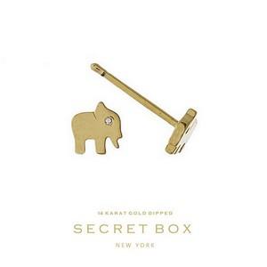 Secret Box 14 Karat Gold Dipped over brass elephant stud earrings. 5mm in length.