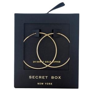 """Secret Box 14 karat gold dipped over brass hoop earrings. Approximately 1.75"""" in diameter."""