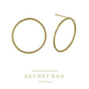 "Secret Box 14 karat gold dipped over brass circle stud earrings. Approximately 3/4"" in diameter."