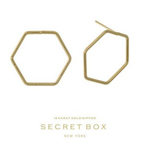 Secret Box 14 Karat Gold over brass geometric shaped stud earrings Approximately 20mm.  Sold in gift box.