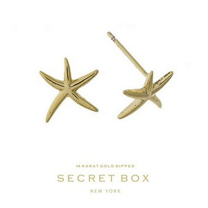 "Secret Box 14 karat gold dipped over brass starfish stud earrings. Approximately 1/2"" in length. Sold in a gift box."