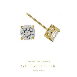 "Secret Box 14 karat gold dipped over brass clear rhinestone stud earrings. Approximately 1/4"" in diameter. Sold in a gift box."