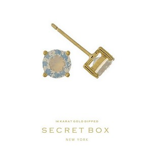 "Secret Box 14 karat gold dipped over brass opal rhinestone stud earrings. Approximately 1/4"" in diameter. Sold in a gift box."