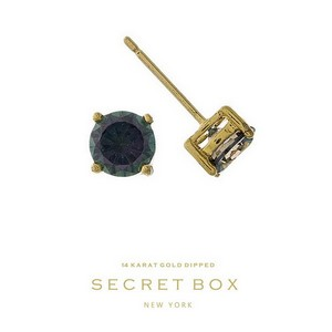 "Secret Box 14 karat gold dipped over brass iridescent rhinestone stud earrings. Approximately 1/4"" in diameter. Sold in a gift box."