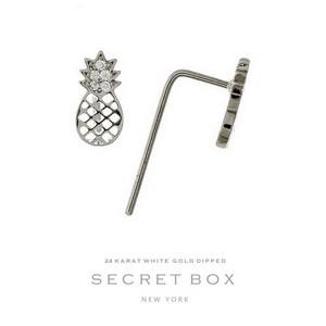 Secret Box 24 Karat White Gold over brass pineapple stud earrings. 9mm in length.