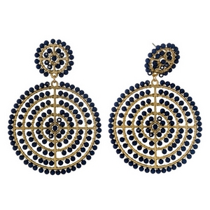 "Gold tone post style earrings with two navy blue beaded circles. Approximately 3"" in length."