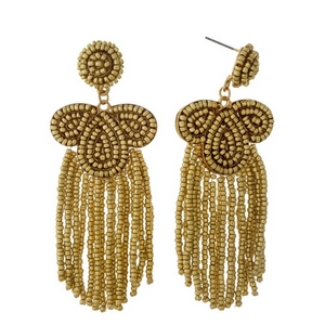 "Gold beaded statement earrings with beaded fringe. Approximately 3.25"" in length."