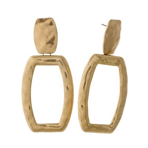 "Hammered gold tone stud earrings with an open rectangle shape. Approximately 3"" in length."
