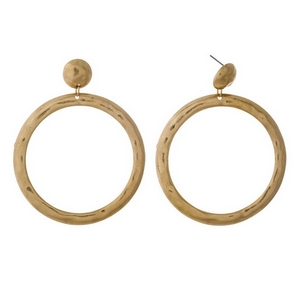 "Hammered gold tone stud earrings with an open circle shape. Approximately 2.75"" in length."