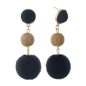"""Gold tone post style earrings with two black thread wrapped beads and a wooden bead. Approximately 2.75"""" in length."""