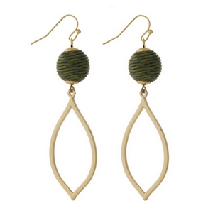 """Gold tone fishhook earrings with an olive green thread wrapped bead and an open teardrop shape. Approximately 2.5"""" in length."""