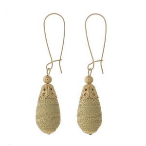"""Gold tone long hook earrings with a gold, thread wrapped, teardrop shaped bead. Approximately 2.5"""" in length."""