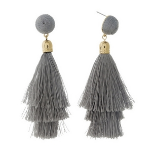 """Gold tone stud earrings with a gray thread wrapped bead and tapered tassel. Approximately 3.5"""" in length."""