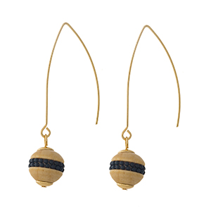 "Gold tone, long hook earrings with a wooden bead accented with black beads. Approximately 2"" in length."