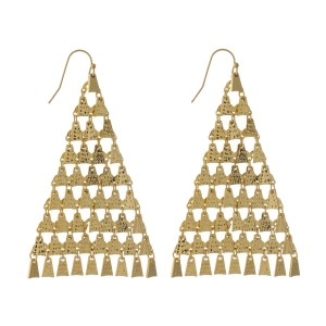"Gold tone fishhook, triangle earrings with hammered charms. Approximately 3"" in length."