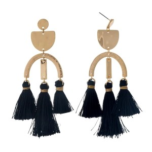 "Gold tone post style earrings with hammered geometric shapes and three black tassels. Approximately 3.25"" in length."