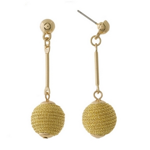 """Dainty gold tone stud earrings with a thread wrapped bead. Approximately 1.5"""" in length."""