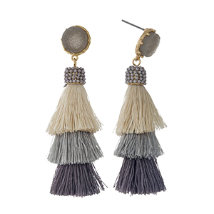 "Gold tone stud earrings with a faux druzy stone and a gray ombre, tiered, thread tassel. Approximately 2.5"" in length."
