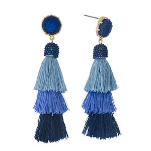 "Gold tone stud earrings with a faux druzy stone and a navy blue ombre, tiered, thread tassel. Approximately 2.5"" in length."